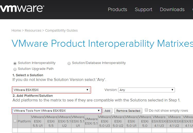 VMware Product Interoperability Matrixes